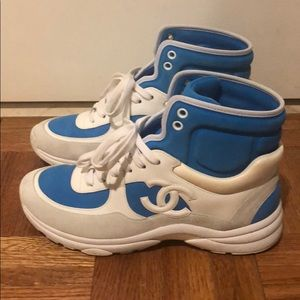 Chanel High Top Blue CC logo sneakers